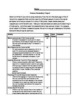 Science Vocabulary Project (Menu)