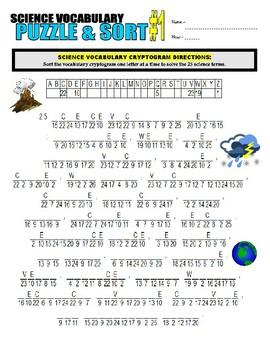 Science Vocabulary Puzzle & Sort #1
