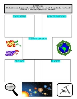 Science Vocabulary Puzzle & Sort #2