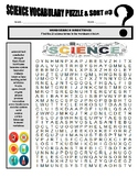 Science Vocabulary Puzzles & Sort #3 (wordsearch, criss-cross, cryptogram)