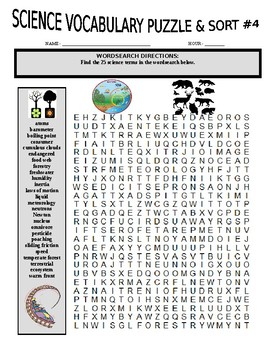 Science Vocabulary Puzzle & Sort #4