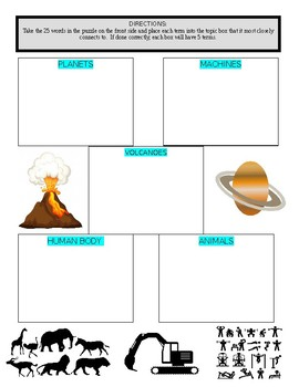 Science Vocabulary Puzzle & Sort #6