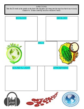 Science Vocabulary Puzzle & Sort #9