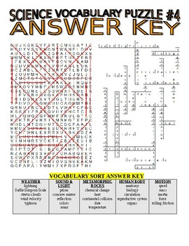 Science Vocabulary Combo Puzzles #4 & Sort (Wordsearch and Criss-Cross)
