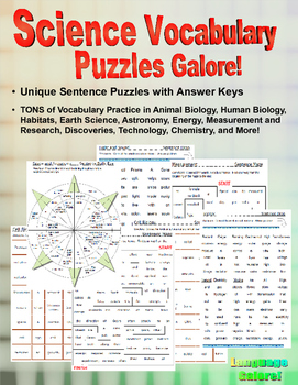 Science Vocabulary Puzzles Galore!