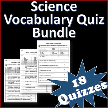 6 Science Vocabulary Quizzes and Word List Bundle Grades 4-6