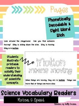 Motion & Speed - Science Vocabulary Reader