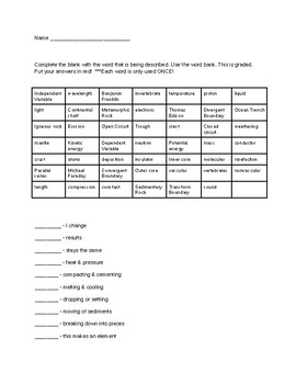 Science Vocabulary Review