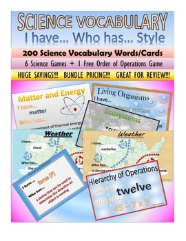 Science Vocabulary Review - Science Games - 5th Grade Science I Have Who Has