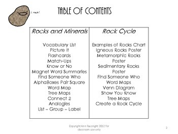 Science vocabulary rocks and minerals teaching unit and rock cycle unit ccuart Gallery