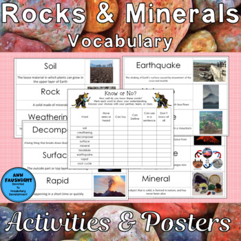 Rocks and Minerals Vocabulary Activities and Poster