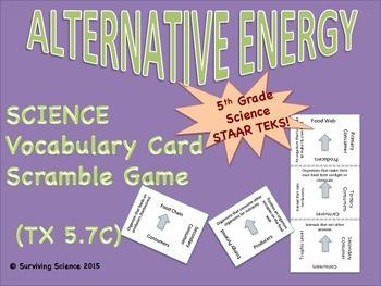Science Vocabulary Scramble: Alternative Energy (TX TEKS 5.7C)