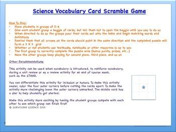 Science Vocabulary Scramble: Changes to Land (TX TEKS 5.7B)