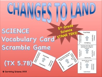 Science Vocabulary Scramble: Changes to Land (TX TEKS 5.7B)