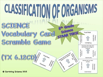Science Vocabulary Scramble Game: Classification of Organisms  (TX TEKS 6.12CD)