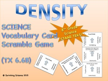 Science Vocabulary Scramble Game: Density (TX TEKS 6.6B)