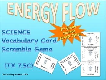 Science Vocabulary Scramble Game: ENERGY FLOW (TX TEKS 7.5C)