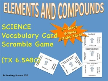Science Vocabulary Scramble Game: Elements and Compounds (TX TEKS 6.5ABC)