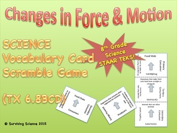 Science Vocabulary Scramble Game: Forces and Motion (TX TE