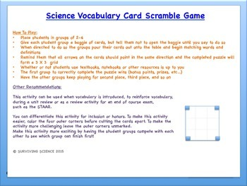 Science Vocabulary Scramble Game: ORGANIC COMPOUNDS (TX TEKS 7.6A)