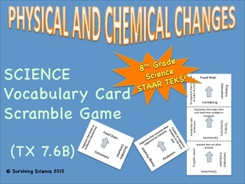 Science Vocabulary Scramble: Physical and Chemical Changes (TX TEKS 7.6B)
