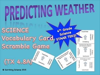 Science Vocabulary Scramble: Predicting Weather (TX TEKS 4.8A)