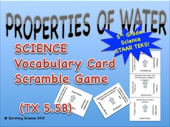 Science Vocabulary Scramble: Properties of Water (TX TEKS 5.5B)