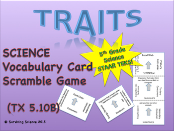 Science Vocabulary Scramble: Traits (TX TEKS 5.10B)