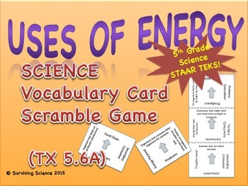 Science Vocabulary Scramble: Uses of Energy (TX TEKS 5.6A)
