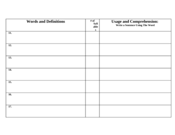 Science Vocabulary Student Handout