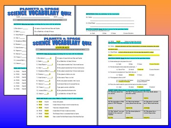 Science Vocabulary : Planets & Space (Quiz / Study Guide / Puzzles)