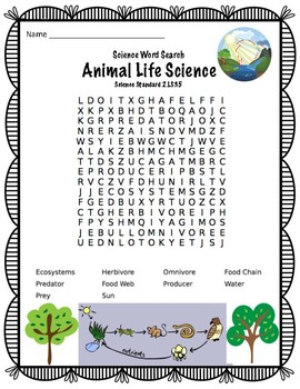 Science Vocabulary Word Search Animal Life Science standard 2.LS3.5