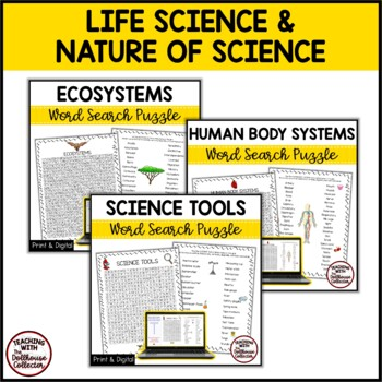 Science Vocabulary Word Search Bundle! 6 Puzzles With Answer Keys!