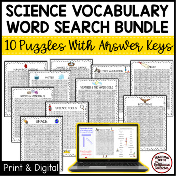 Science Vocabulary Word Search Bundle! 9 Puzzles With Answer Keys!
