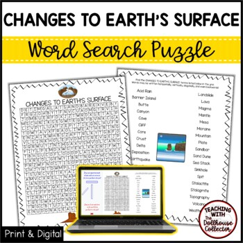 Science Vocabulary Word Search - CHANGES TO EARTH'S SURFACE