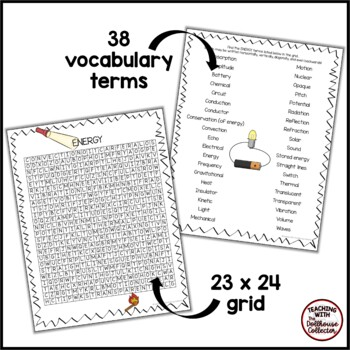 Science Vocabulary Word Search - ENERGY