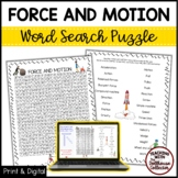 Science Vocabulary Word Search - FORCE AND MOTION