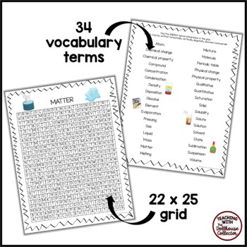 Science Vocabulary Word Search - MATTER