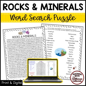 Science Vocabulary Word Search - ROCKS AND MINERALS