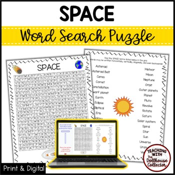 Science Vocabulary Word Search - SPACE