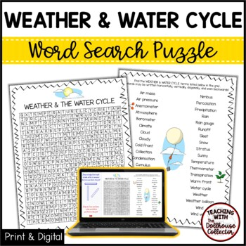 Science Vocabulary Word Search - WEATHER & THE WATER CYCLE