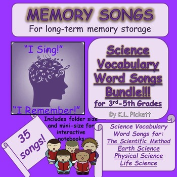 Science Vocabulary Word Songs Bundle for Third to Fifth Grades