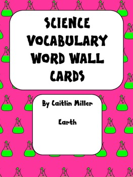 Science Vocabulary Word Wall Cards Earth