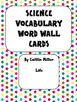Science Vocabulary Word Wall Cards Life Bold