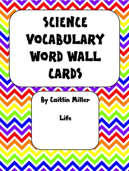 Science Vocabulary Word Wall Cards Life Chevron