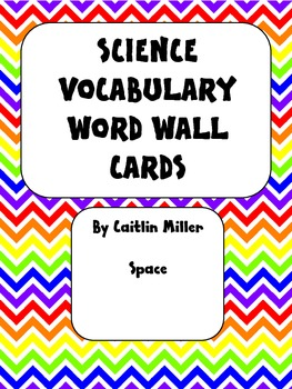 Science Vocabulary Word Wall Cards Space Chevron