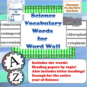 Science Vocabulary Word Wall Words with Unit Heading Pages and Letter Headings!