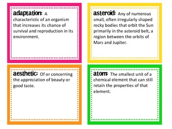 Science Vocabulary Word Wall words & definition cards