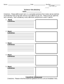 Science Vocabulary and Essential Questions Form