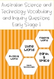 Australian Science Vocabulary and Inquiry Questions Early Stage 1